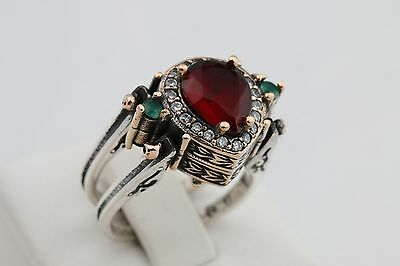 Turkish Reversible Drop Emerald Ruby Jade Topaz 925 Sterling Silver Ring