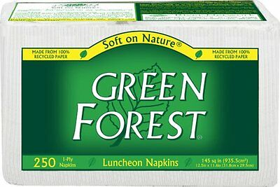 Green Forest 1-Ply Luncheon Napkins  White  Case Pack  Twelve 250-Count Pac