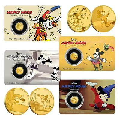 4x 2016 Mickey Mouse Through The Ages: 0.5g Proof Gold Coin