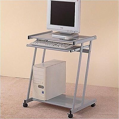 Coaster Contemporary Computer Workstation Office Desk / Table, Silver Finis