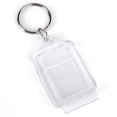100X Clear Square Acrylic Blank Picture Insert Frame Split KeyRings Keychain AU