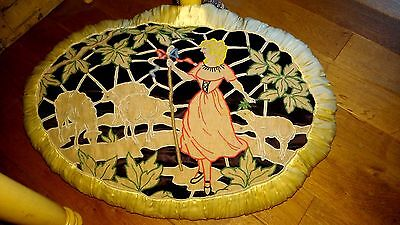 Gorgeous,large antique french boudoir sofa pillow,hand embroidered, shepherdess,