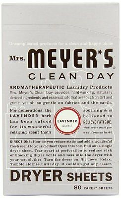 Mrs. Meyer's Clean Day Dryer Sheets, Lavender, 80-Count Boxes (Pack of 12)