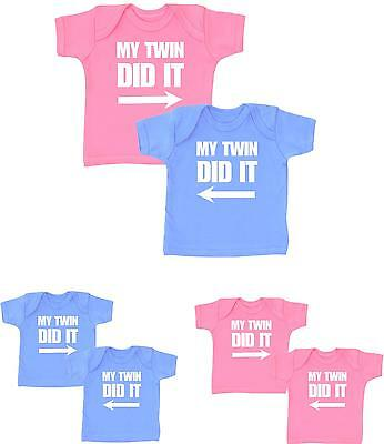 BabyPrem Baby Clothes TWINS Twin Boys Girls HE DID IT T-Shirts Tops Tees Pack 2