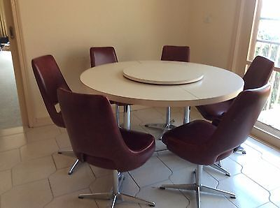 Extendable Laminate Dining Timber Table,6 Chairs and Lazy-Susan