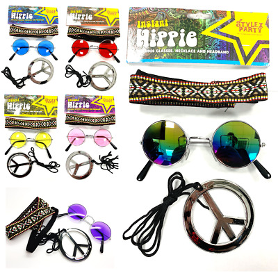 Hippy Fancy Dress Set Round 1960's Glasses 8 Designs Fun Peace Necklace Hippie