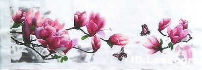 """NEW Finished completed cross stitch""""Magnolia and Butterfly""""home decor Gifts"""