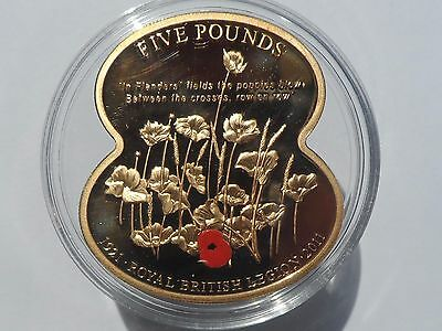5 Five Pound 2011 GUERNSEY Coin Royal British Legion Gold Plated