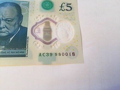 New AC Plastic Polymer Five Pound Note Uncirculated Unc UK £5 Printing Error