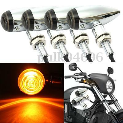 4x Metal Motorcycle Bullet Turn Signal Light Indicator For Harley Bobber Chopper