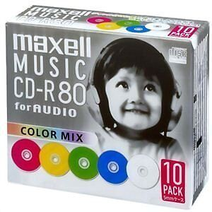 maxell music CD-R 80 minute mix color 10 pieces 5mm case case CDRA80MIX.S1P