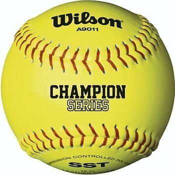 """Wilson High School and Adult Fast Pitch 12"""" Balls, Polycore, Optic Yellow ("""