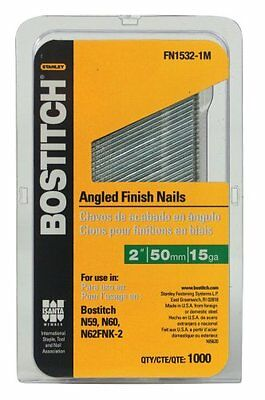 BOSTITCH FN1532-1M 2-Inch 15-Gauge FN Style Angled Finish Nails, 1000 per B