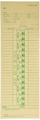 TOPS 1255 Business Forms 3-1/2 X 10-1/2 Weekly Time Cards For Cincinnati, S