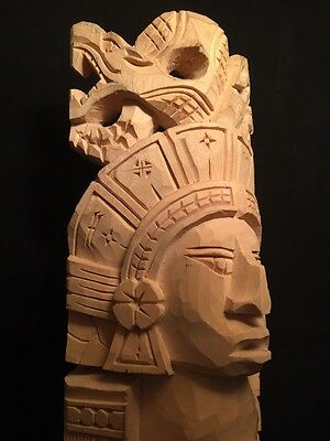 "Carved Wooden Aztec Indian Figure Statue 14"" x 4"" x 4"""