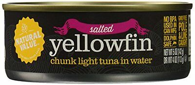 Natural Value Chunk Yellowfin Tuna in Spring Water, 6 Ounce Cans (Pack of 2
