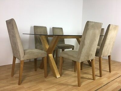 Modern Contemporary Oak Framed Glass Top Dining Table And Six Dining Chairs