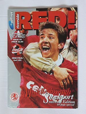 Football Programme League Cup Semi Final 1996/97 Middlesbrough v Stockport