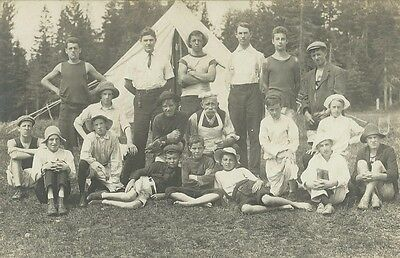 Social History, Group Of Campers In Front Of Tent, Photo Postcard