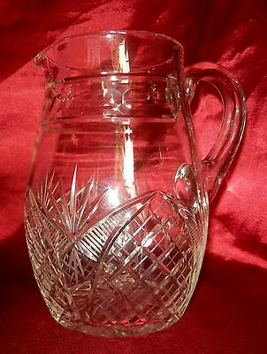 Pretty Vintage 1930s 1940s Cut Glass Lemonade Jug Pitcher