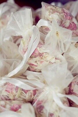 Natural biodegradable petal wedding confetti 12 organza bags multi colours