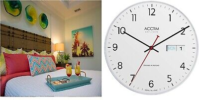 Acctim Day/Date Wall Clock in White DATE MINDER 12 MONTHS WARRANTY