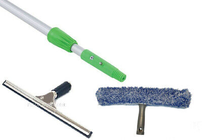 Professional Window Cleaning Kit with 2m Telescopic Pole - Squeegee & Washer