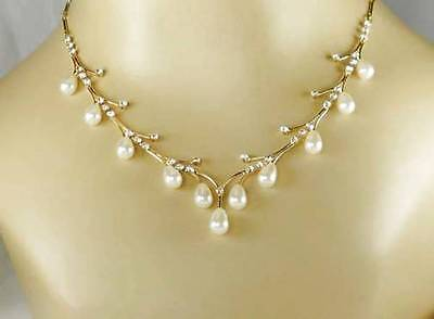Bridesmaid Wedding Bridal Jewelry GOLD CREAM Pearl Crystal Necklace Earring Set