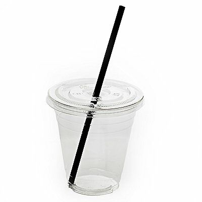 50 Sets 12oz Plastic Clear Cups with Flat Lids and Straws
