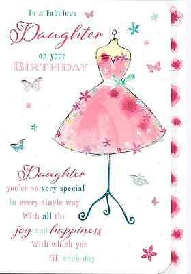 Fabulous Daughter Birthday Cardtop Qualitypinkdress Lovely VerseV1