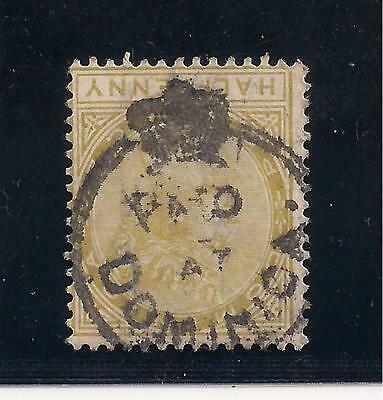 Halfpenny Olive yellow Crown CA watermark with Paid at Dominica Crown Circle