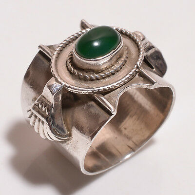 925 Sterling Solid Silver Stone Setted Ring Green Onyx Handmade (BCFH)