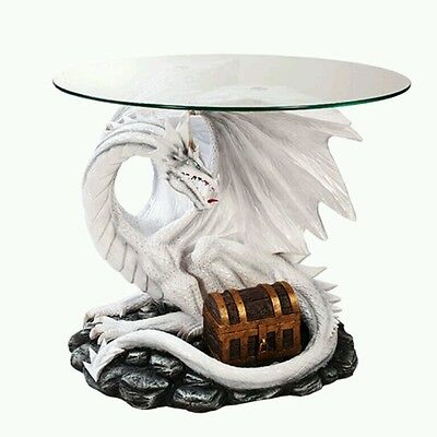 DRAGON TABLE Frost Dragon Guarding Treasure Coffee Side Table With Glass