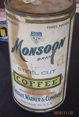 3 Pound Coffee Tin Can  Paper Label Steel Cut Chicago Illinois With Lid