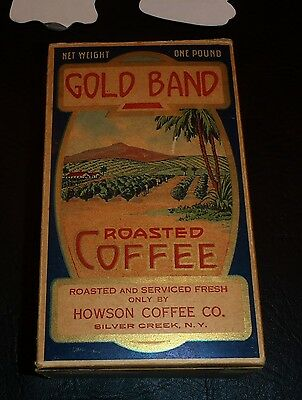 1 Pound Coffee Cardboard Box Gold Band Roasted Coffee Silver Creek New York