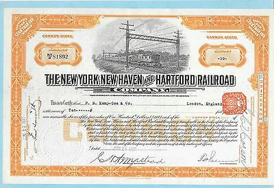New York, New Haven and Hartford Railroad Company, share certificate dated 1937.