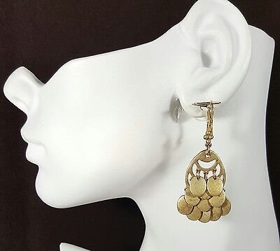 Jewelry Pre-owned Earrings Signed LC Gold Tone Metal Dangle Unique Style #523