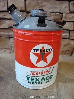 Texaco Gasoline Metal Gas Can Motor Oil Can Garage Man Cave Sinclair Mobil