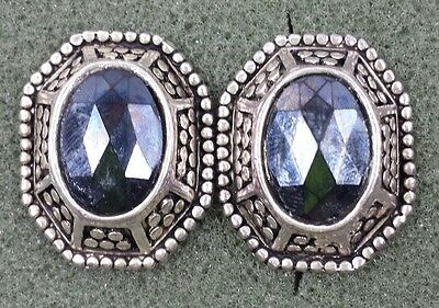 Vtg Jewelry Earrings Clip Silver Tone Black Acrylic Bead Button Design Beauti...