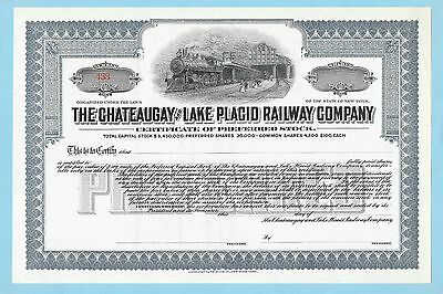 Chateaugay and Lake Placid Railway Co., unissued share certificate dated 19--..