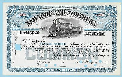New York and Northern Railway Co., unissued share certificate dated 188-.