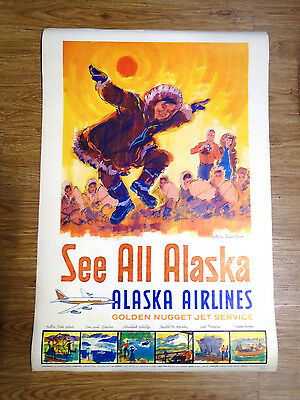 1960's ALASKA AIR COLOR TRAVEL POSTER 24 X 36 DOUBLE SIDED - FANTASTIC (6073-A)