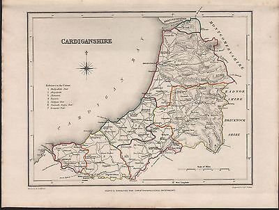 1848 Antique County Map - Wales Cardiganshire Aberystwith Tregaron Lampeter