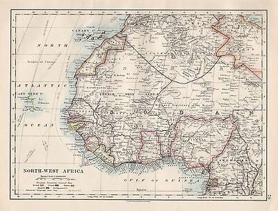 1920 Vintage Map-North West Africa
