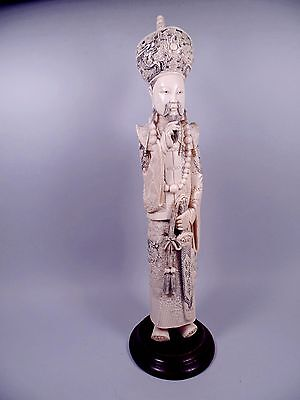Antique Chinese Hand Carved Emperor Statue
