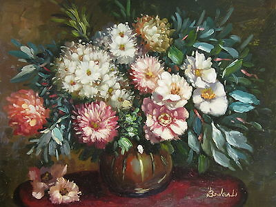 "Antique Xalo Floral Original Hand Painted 12""x16"" Oil Painting Canvas Art"