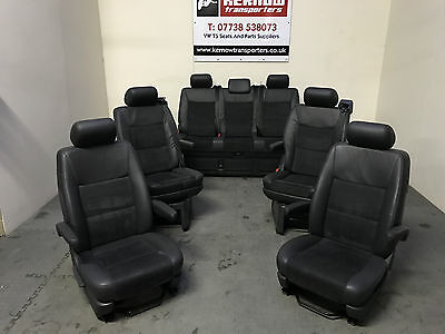 VW T5 Volkswagen Caravelle Seats Triple Seat Anthracite Leather Alcantara