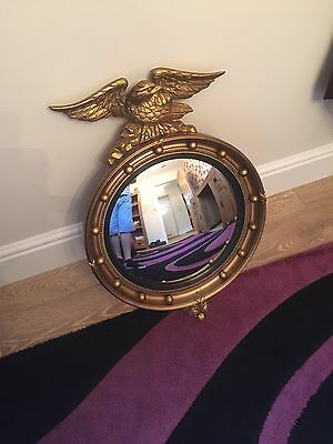 Georgian Regency Carved Gilt Wood Eagle Convex Butlers Round Wall Mirror