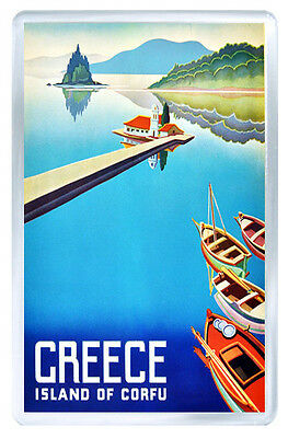 Greece Island Of Corfu Vintage Repro Fridge Magnet Souvenir Iman Nevera