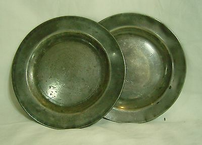 Two 18th Century Pewter Dinner Plates with marks